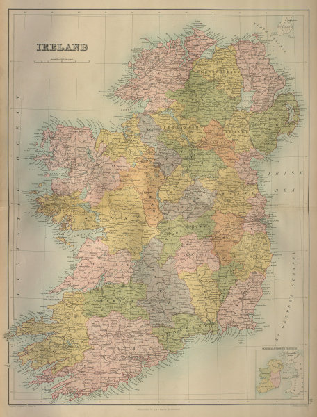 Ireland in counties. Railways. BARTHOLOMEW 1870 old antique map plan chart