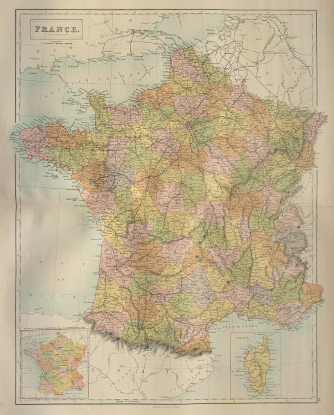 France in Departments. Railways. BARTHOLOMEW 1870 old antique map plan chart