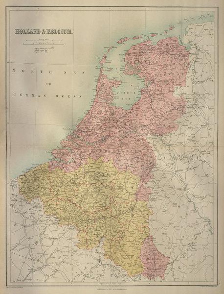 Holland, Belgium & Luxembourg. Benelux. BARTHOLOMEW 1870 old antique map chart