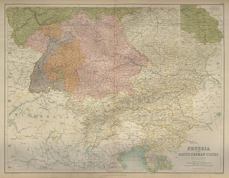 Southern Germany states & Austria. Poland Silesia Bavaria. BARTHOLOMEW 1870 map