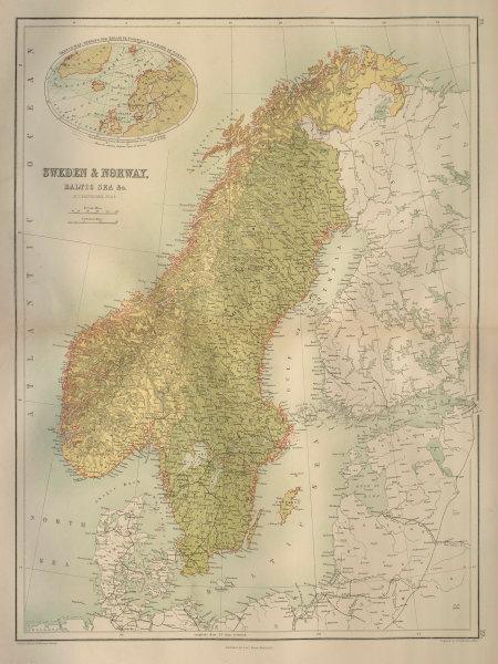 Sweden & Norway. Scandinavia. Railways. BARTHOLOMEW 1870 old antique map chart