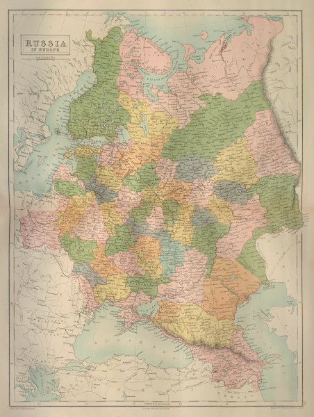 European Russia. Finland Baltic States Poland Ukraine. BARTHOLOMEW 1870 map
