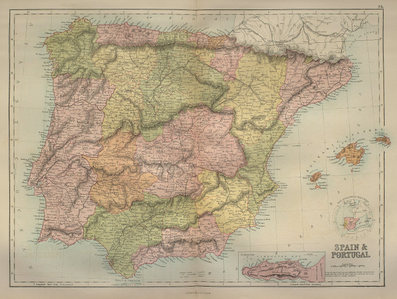 Spain and Portugal in provinces. Iberia Gibraltar. BARTHOLOMEW 1870 old map