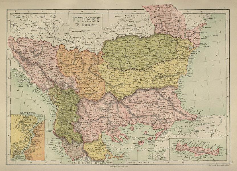 Balkans Rumilia Wallachai Servia Bulgaria Macedonia Albania BARTHOLOMEW 1870 map
