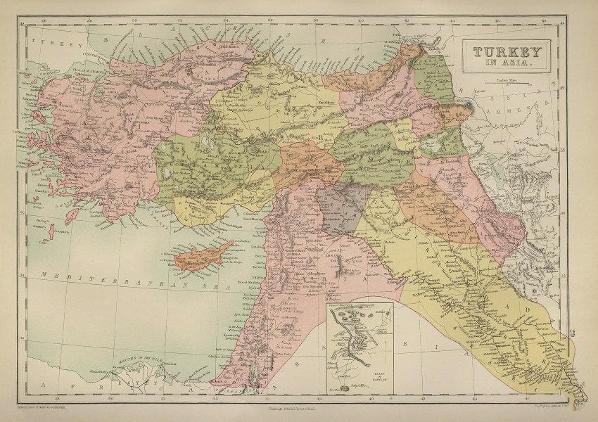 Turkey in Asia. Levant Anatolia Syria Palestine Iraq Cyprus BARTHOLOMEW 1870 map