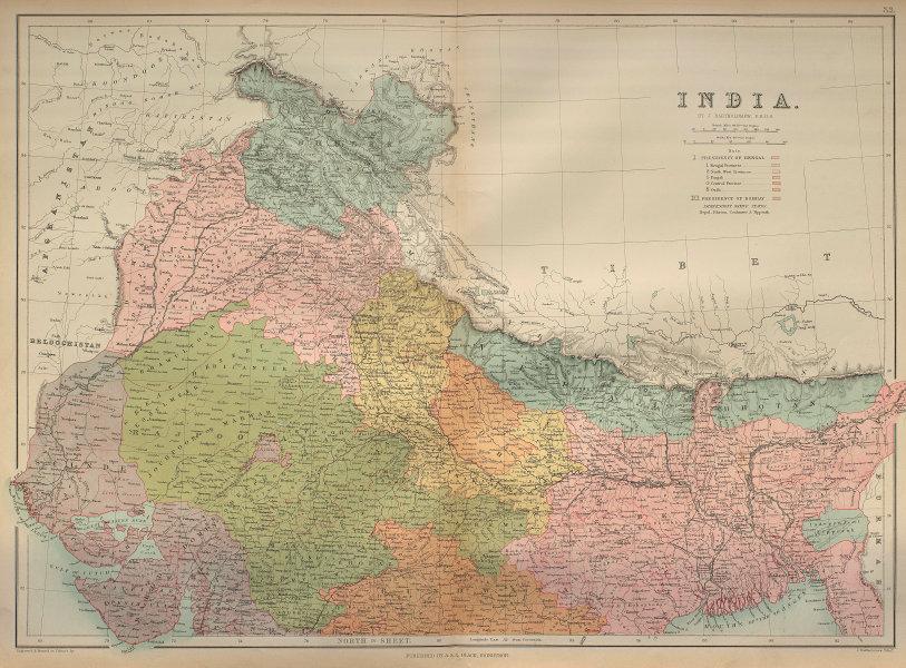 North British India. Kashmir Punjab Rajasthan Bengal Nepal BARTHOLOMEW 1870 map