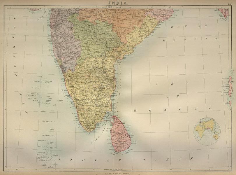 South India. Sri Lanka Ceylon. Mysore. Nizam's Dominions. BARTHOLOMEW 1870 map