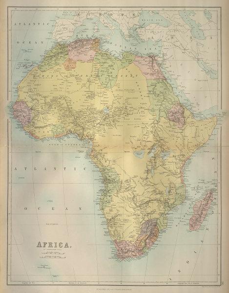Africa. Tribes/pre-European Kingdoms. Piaggia's Great Lake. BARTHOLOMEW 1870 map