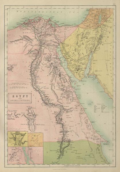 Egypt & Arabia Petraea. Nile Valley Inset Petra Giza Thebes BARTHOLOMEW 1870 map