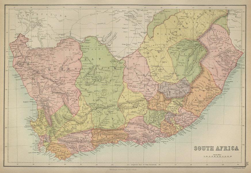 South Africa. Great Bushmanland. Orange Free State. BARTHOLOMEW 1870 old map