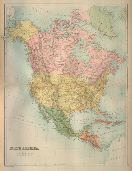 North America. USA. Dominion of Canada. Mexico Greenland. BARTHOLOMEW 1870 map