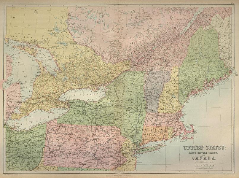 North East USA & Canada. Great Lakes. New England NY PA. BARTHOLOMEW 1870 map