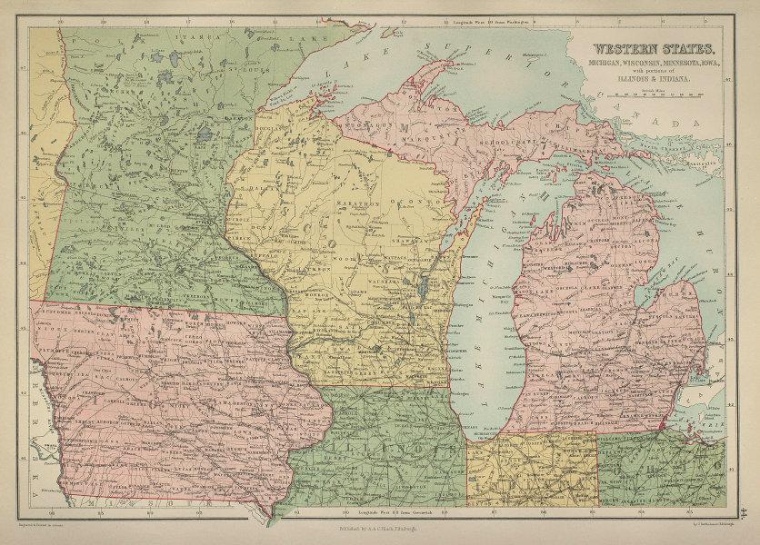 USA Midwest Great Lakes. Michigan Wisconsin Minnesota Iowa. BARTHOLOMEW 1870 map