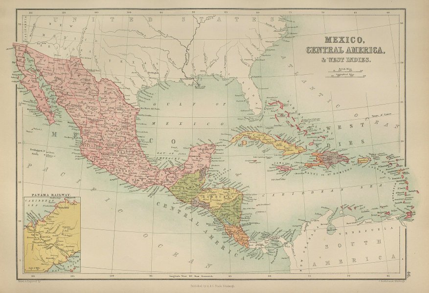 Mexico, Central America & West Indies. Panama Railway. BARTHOLOMEW 1870 map