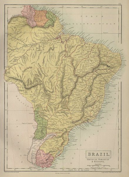 Brazil, Uruguay, Paraguay & Guayana. Guyanas. BARTHOLOMEW 1870 old antique map