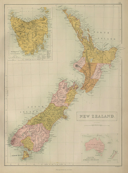 New Zealand in provinces & Tasmania or Van Diemen's Land. BARTHOLOMEW 1870 map