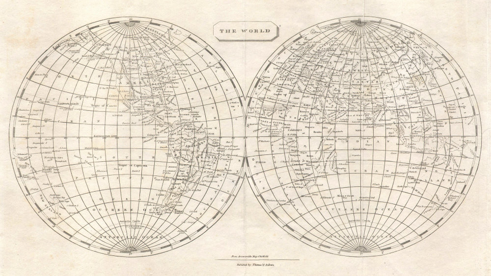 The World in Hemispheres by Arrowsmith & Lewis 1812 old antique map plan chart