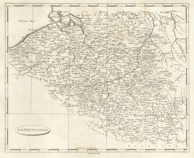 Netherlands by Arrowsmith & Lewis 1812 old antique vintage map plan chart