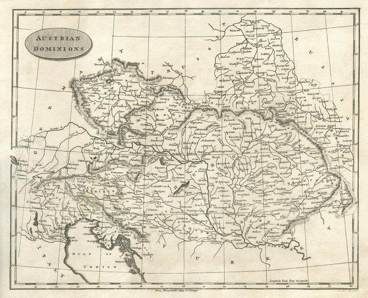 Austrian Dominions. Arrowsmith & Lewis. Hungary Czechia Slovakia Veneto 1812 map