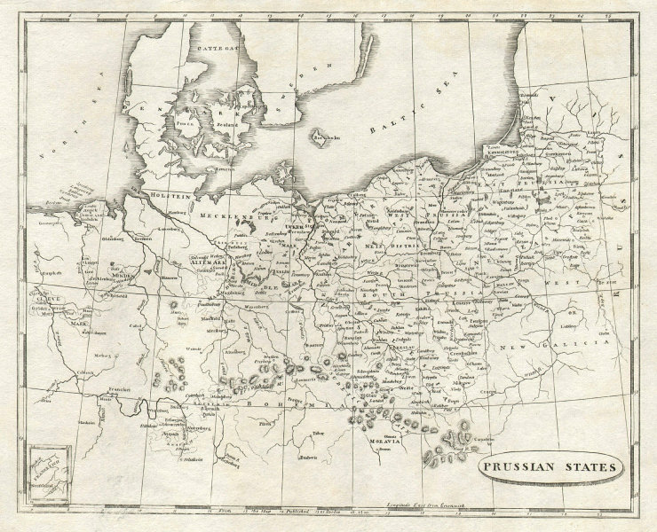 Prussian States by Arrowsmith & Lewis. Poland 1812 old antique map plan chart