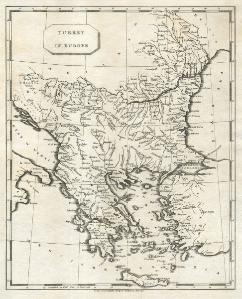 Turkey in Europe by Arrowsmith & Lewis. Balkans Greece Romania Bulgaria 1812 map