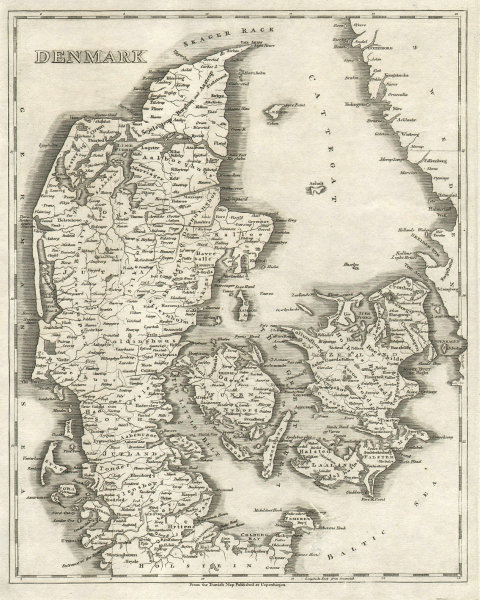 Denmark by Arrowsmith & Lewis 1812 old antique vintage map plan chart