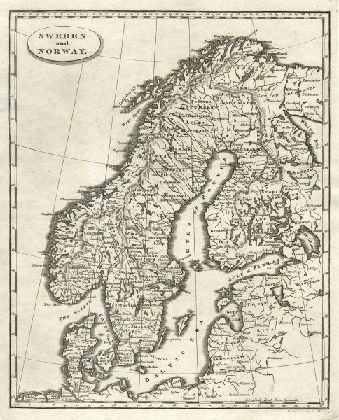 Sweden and Norway by Arrowsmith & Lewis. Scandinavia & Finland 1812 old map
