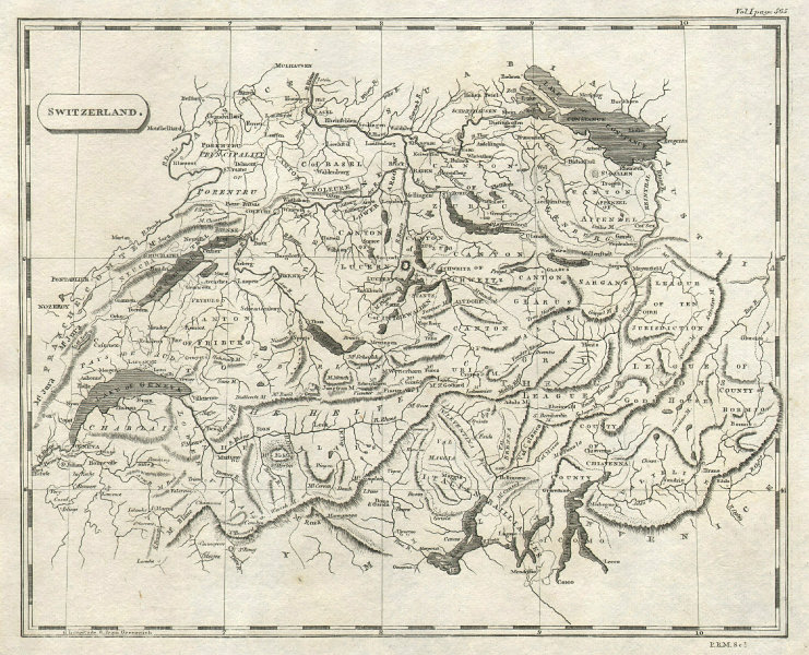 Switzerland by Arrowsmith & Lewis 1812 old antique vintage map plan chart
