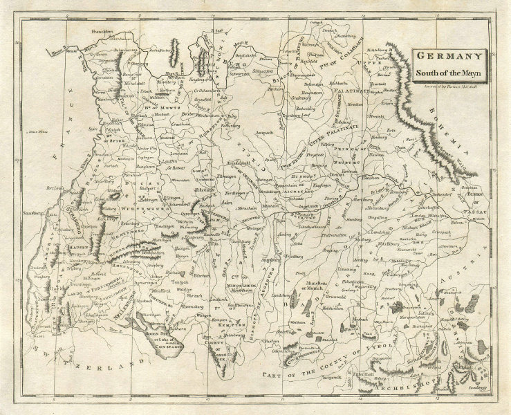 Germany South of the Mayn. Arrowsmith & Lewis Bavaria Baden-Württemberg 1812 map