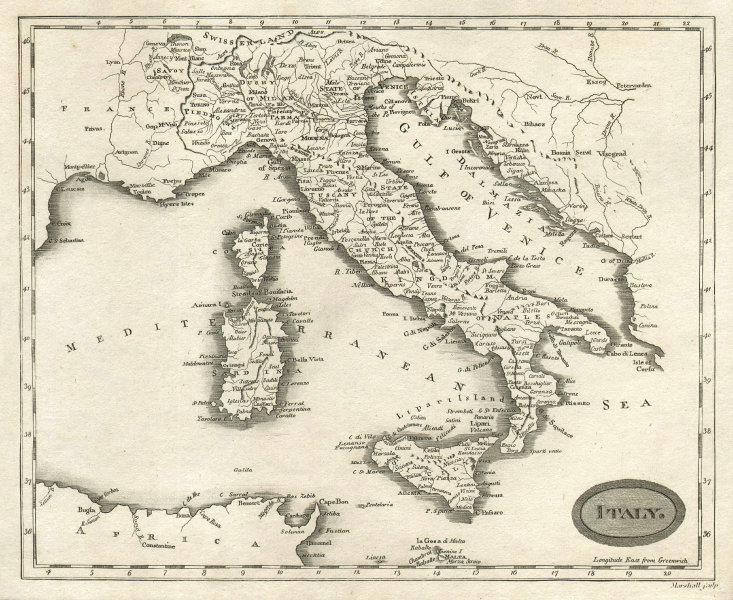 Italy by Arrowsmith & Lewis 1812 old antique vintage map plan chart