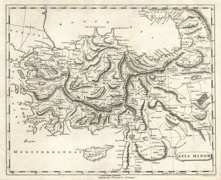 Asia Minor by Arrowsmith & Lewis. Turkey. Anatolia 1812 old antique map chart
