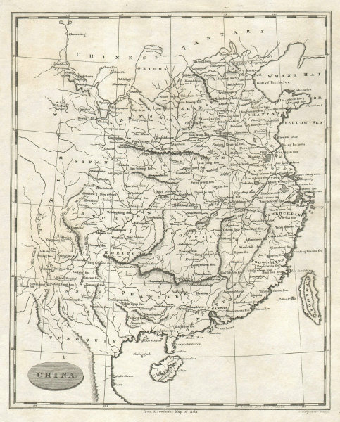China by Arrowsmith & Lewis 1812 old antique vintage map plan chart
