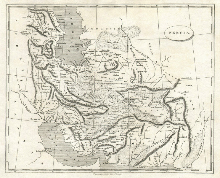 Persia by Arrowsmith & Lewis. Iran 1812 old antique vintage map plan chart