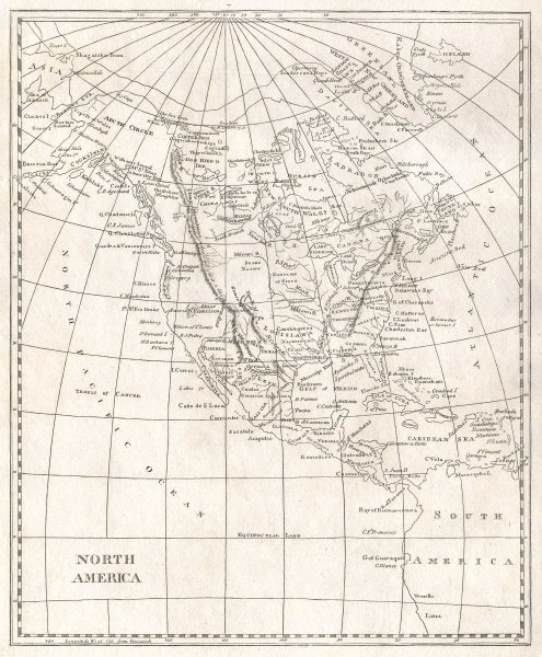 North America by Arrowsmith & Lewis. United States & Canada 1812 old map