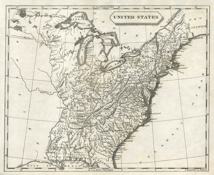 United States of America by Arrowsmith & Lewis. 17 States 1812 old antique map