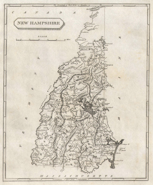 New Hampshire state map by Arrowsmith & Lewis 1812 old antique plan chart