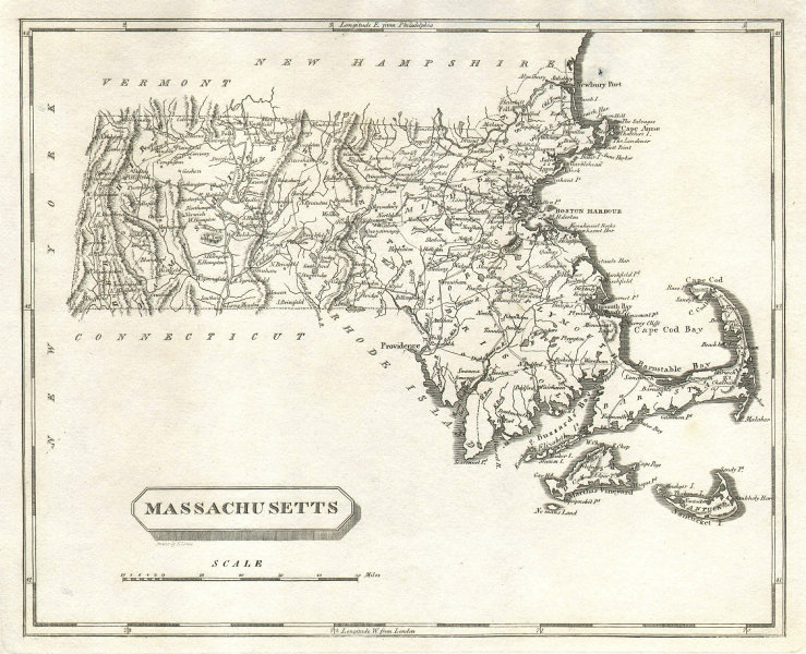 Massachusetts state map by Arrowsmith & Lewis 1812 old antique plan chart