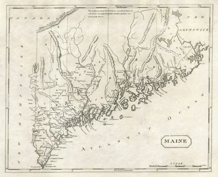 Maine state map by Arrowsmith & Lewis 1812 old antique vintage plan chart