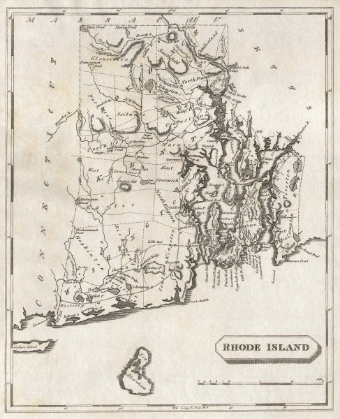 Rhode Island state map by Arrowsmith & Lewis 1812 old antique plan chart