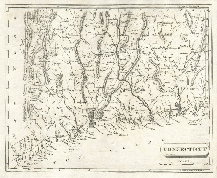 Connecticut state map by Arrowsmith & Lewis 1812 old antique plan chart