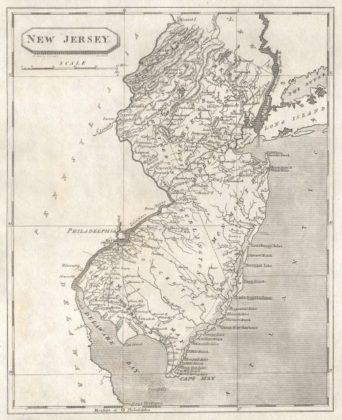 New Jersey state map by Arrowsmith & Lewis 1812 old antique plan chart