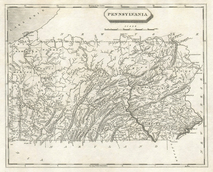 Pennsylvania state map by Arrowsmith & Lewis 1812 old antique plan chart