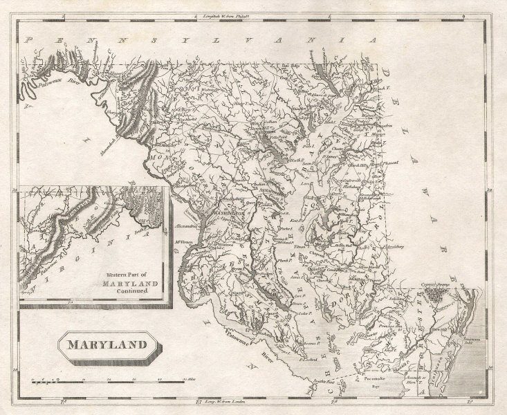Maryland state map by Arrowsmith & Lewis 1812 old antique plan chart