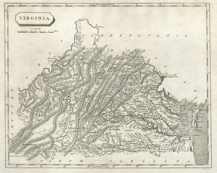 Virginia state map by Arrowsmith & Lewis 1812 old antique plan chart