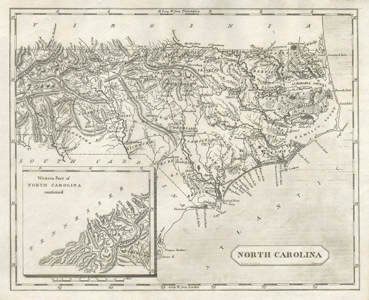North Carolina state map by Arrowsmith & Lewis 1812 old antique plan chart