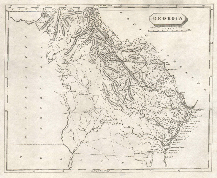 Georgia state map by Arrowsmith & Lewis 1812 old antique plan chart