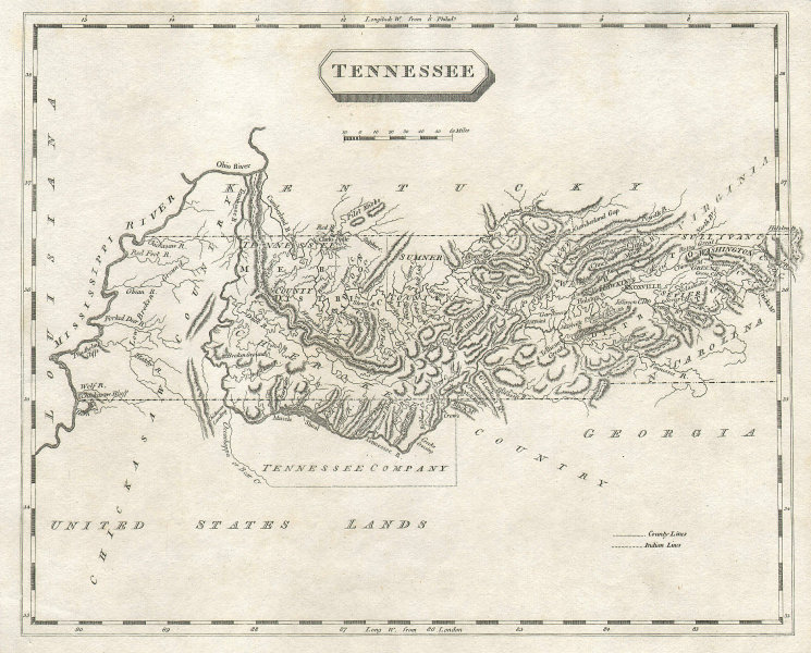 Tennessee state map by Arrowsmith & Lewis. Tennessee Company 1812 old