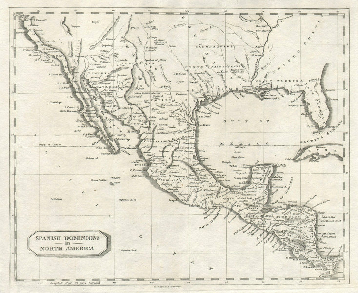 Spanish Dominions in North America. Arrowsmith/Lewis Mexico Southern US 1812 map