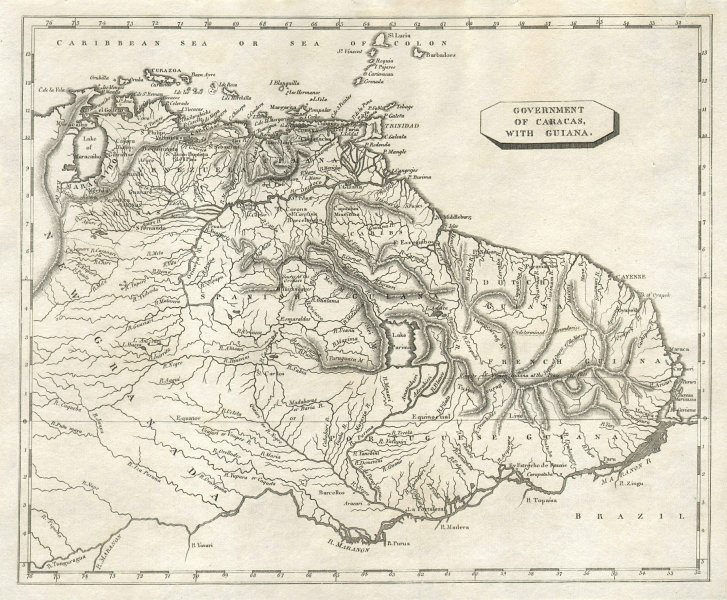 Government of Caracas with Guiana by Arrowsmith & Lewis. Venezuela 1812 map