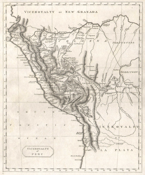 Viceroyalty of Peru by Arrowsmith & Lewis 1812 old antique map plan chart